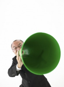 Businessman with Bullhorn